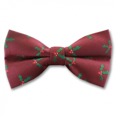 Burgundy Wine Ready Tied Bow Tie With Christmas Holly